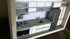 Quadro de cozinha moderna em miniatura