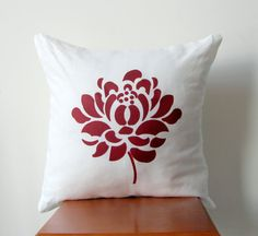 Red Dahlia Pillow Cover Hand Printed Decorative by AnyarwotDesigns, $20.00