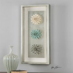 Uttermost Florenza Framed Wall Art - x in. - Mixed media artist, Grace Feyock creates the Uttermost Florenza Framed Wall Art - x in. from a trio of ceramic flowers set within an antiqued. Frame Wall Decor, Frames On Wall, Framed Wall Art, Wall Art Decor, Empty Frames, Wall Décor, Room Decor, Flower Frame, Flower Wall