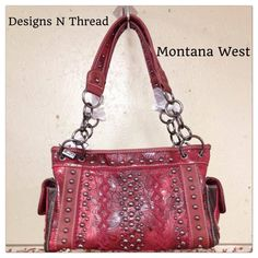 Red Leather Bag. With two sides pockets  an pocket on back Montana West