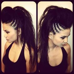 Styled by Gercy Galang of Gorgeous Salon in San Diego, CA.for my rocker hair Pretty Hairstyles, Braided Hairstyles, Wedding Hairstyles, 80s Hairstyles, Rocker Hairstyles, Mohawk Hairstyles For Women, Faux Hawk Hairstyles, Everyday Hairstyles, African Hairstyles