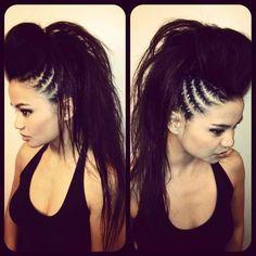 Hairstyles, black long hair, cornrows, braids, Mohawk, fauxhawk.
