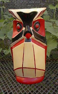 EXTREMELY RARE and desired Ditmar Urbach Art Deco Hand-painted Czech OWL