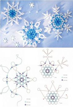 Wreath for the little ones to hang on the tree - Christmas crafts with children Kita - water - Seed beads snowflake pattern … – - Seed Bead Tutorials, Beading Tutorials, Snowflake Craft, Snowflake Pattern, Beaded Snowflake, Beaded Jewelry Patterns, Beading Patterns, Bracelet Patterns, Beaded Jewellery