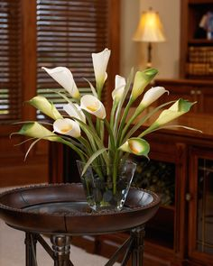 Calla Lily & Foliage Silk Centerpiece - White/Green $159