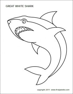 Free printable sharks to color and use for crafts and