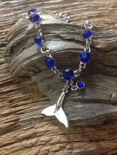 Blue Rhinestone and silver whale tail bracelet: by EquusFancy