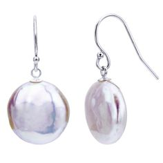 Sterling Silver 13-13.5mm Coin Shape White Freshwater Cultured Pearl Dangle Earrings.More info for handmade earrings;star earrings;beaded earrings;green earrings;tanzanite earrings could be found at the image url.(This is an Amazon affiliate link and I receive a commission for the sales)