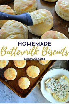 Melt-in-your mouth homemade buttermilk biscuits made in your kitchen in less than 30 minutes time! With just a few ingredients your next breakfast or brunch will be complete.  #biscuits #breakfast #buttermilkbiscuits #southernbreakfast How To Make Biscuits, Biscuits And Gravy, Sweets Recipes, Bread Recipes, Homemade Buttermilk Biscuits, Southern Breakfast, Sausage Gravy, Melt In Your Mouth, Few Ingredients