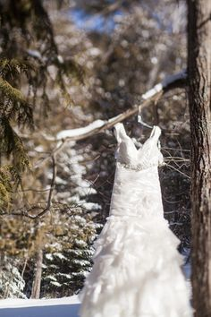 Cute idea of taking a picture of the wedding dress outside hanging on a branch... wren photography
