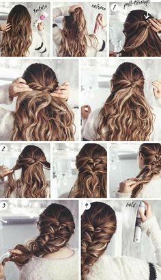 Bun Hairstyles, Wedding Hairstyles, Trendy Hairstyles, Easy Braided Hairstyles, Easy Work Hairstyles, Fashion Hairstyles, Vintage Hairstyles, Easy Hairstyles For Medium Hair For School, Naturally Curly Hairstyles