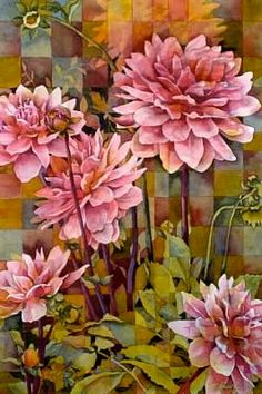 PINK DAHLIAS - Limited Edition Fine Art Print - 11 x 14 inches - From Original Watercolor Painting by Pat Howard. $54.00, via Etsy.