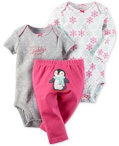 bba7667e28 Carter s Baby Girls  3-Pc. Snowflake Bodysuits   Penguin Pants Set    Reviews - Sets   Outfits - Kids - Macy s