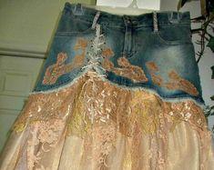 Items similar to Made to Order Copper Lace jean skirt bronze metallic Seven for All Mankind bohemian ballroom Renaissance Denim Couture OOAK on Etsy Vintage Skirt, Vintage Denim, Vintage Lace, French Bohemian, French Lace, Couture, Mauve, Lace Jeans, Estilo Denim