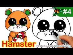 How to draw cute hamsters / chibi kawaii hamsters in easy step by Girl Drawing Easy, Easy Drawing Steps, Cartoon Girl Drawing, Step By Step Drawing, Drawing For Kids, Cartoon Drawings, Easy Drawings, Drawing Tips, Drawing Ideas
