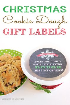 "Christmas Cookie Dough Printable Gift Tag - ""Everyone could use a little extra DOUGH this time of year!"" What a cute gift idea - perfect for neighbors, friends, teachers and co-workers!"