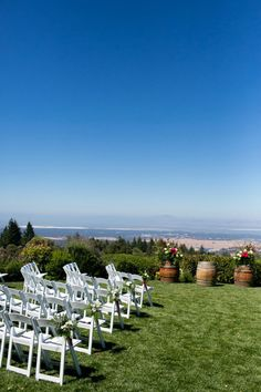 Thomas Fogarty Winery- wine barrels Outdoor Ceremony Lawn overlooking entire Greater Bay Area, California