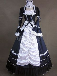 Elegant Gothic Victorian Victorian Aristocrat White Lace Long Dress and Choker
