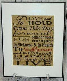 """Traditional Wedding Vows  8.5""""x11"""" Burlap Sign In 11"""" x 14"""" Frame"""