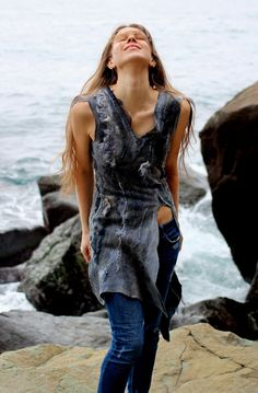 Wild boho tunic grey dress felted wool, natural style summer boho fashion, size S-M by Baymut on Etsy https://www.etsy.com/listing/228385007/wild-boho-tunic-grey-dress-felted-wool