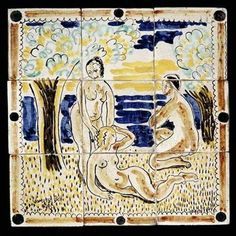 Tile panel by Vanessa Bell Omega workshops