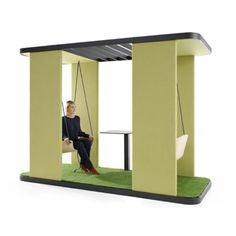 Swing Duo is a funky and fun double office swing that can act as a place to take a break or a place for conversation and meetings with other. Office Pods, Office Environment, Different Fabrics, The Office, Workplace, Swing Sets, Acoustic, Interior, Grass