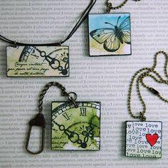 Bonjour! Voici des bijoux réalisées par Ste Creazioni. Tampons: Joli papillon - Vieille horloge - Love you Feutres: Tilleul...