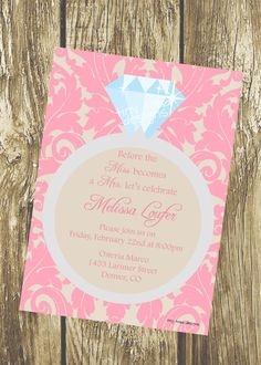 Classic Elegant Ring  Bachelorette Party Invitation or Bridal Shower Invitation by TinyToadDesigns, $12.00