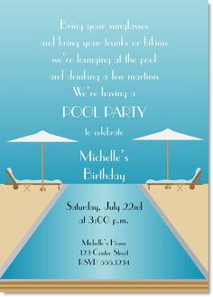 Beachy Poolside Bridal Shower Invitation Bridal Showers And