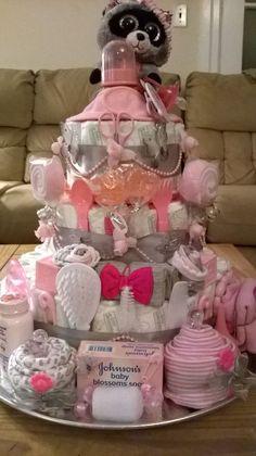 3 Tier Raccoon Baby Girl Shower Diaper Cake Centerpiece or … – Baby Diy - Baby Shower Ideas Baby Shower Cakes, Fiesta Baby Shower, Baby Shower Diapers, Baby Shower Fun, Baby Boy Shower, Baby Showers, Diaper Shower, Cadeau Baby Shower, Baby Shower Gift Basket