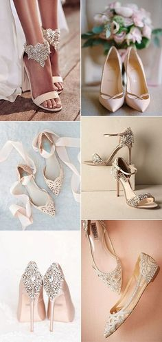 elegant neutral wedding shoes
