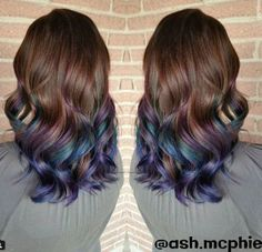 Pretty rainbow hair style for dark brown hair, you will love this new ombre