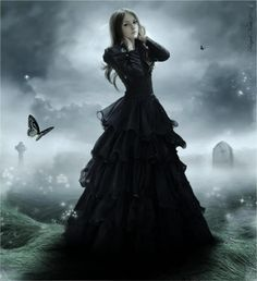 Gothic gown with black butterflies