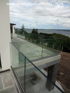 Frameless Glass Balustrade Base Channel System without a slotted top rail - Designed, manufactured, supplied and installed for a client in North Kessock. Patio Railing, Balcony Railing Design, Patio Design, Glass Fence, Glass Railing, Balustrade Design, Stainless Steel Balustrade, Frameless Glass Balustrade, Glass Balcony