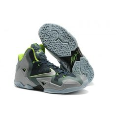 df2304d4c4ce Authentic Lebron James 11 Carbon Grey Fluorescent Green Nike Lebron