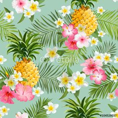 Vektör: Tropical Flowers and Pineapples Background - Vintage Seamless Pattern