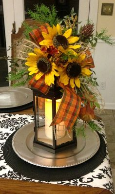 Fall Lantern Swag Sunflower Lanter Swag by aDOORableWreathsByMH