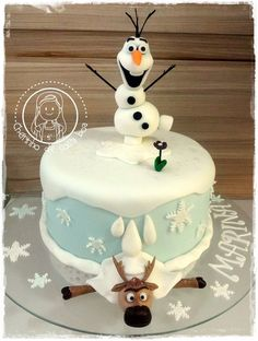 Olaf theme cakes | Frozen Cake, Olaf and Sven