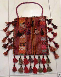 Kurdish tribal bag with tassles - wool-  handmade - 1900