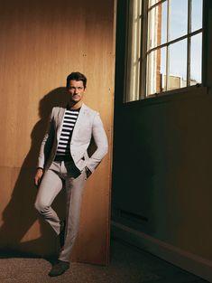 Nautical stripes ~ Madame Figarco magazine. Hair styles: Larry King / Model: David Gandy