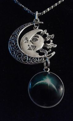 Free Stuff: TRANSITIONS OF THE MOON AND SUN NECKLACE Galactic Glass Cabochon Pendant Silver-Tone - Listia.com Auctions for Free Stuff