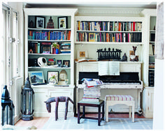 I love the idea of building shelves around a piano!