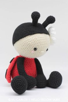 Jadybug the Ladybug amigurumi pattern by Hello Yellow Yarn Crochet Amigurumi Free Patterns, Crochet Animal Patterns, Stuffed Animal Patterns, Crochet Animals, Crochet Toys, Crochet Ladybug, Crochet Dollies, Crochet For Beginners, Crochet Projects