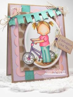 I made this card with the sweet Pure Innocence I wheelie Like You Stamp set. I used only MFT Replenishments heavyweight Card Stock and Die-namics. I followed the MFTWSC119 sketch.