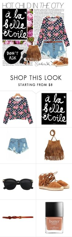 """Floral.."" by bibi-ana ❤ liked on Polyvore featuring H&M, Aquazzura, CO-OP Barneys New York, Too Faced Cosmetics, floral, espadrilles, tassel and tasselbag"