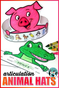 Preschoolers and early elementary kids love making paper animal hats in speech therapy! Therapists, students, teachers, and parents will all adore this articulation craft! Click through for more information! #speechtherapy
