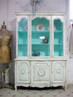 Vintage China Cabinet Aqua With Tea Stain Finish