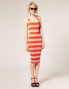 ASOS Wide Stripe Body Concious Midi Dress