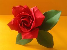 Origami Rose folded by me Tutorial by Masahiro Ichikawa http://www.youtube.com/watch?v=CrWVUYiMftE