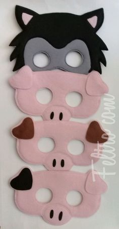 Diy For Kids, Crafts For Kids, Arts And Crafts, Wolf Craft, Dinosaur Crafts, Pig Party, Pig Birthday, Three Little Pigs, Animal Masks